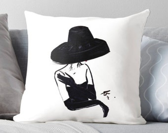 The Vintage Hat (Pillow) (Fashion Illustration art  Home Decor Gift Ideas  Gifts for Her Wedding Gifts Graduation Gifts Birthday Gifts)