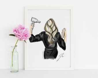 Be Ready in Five (Fashion Illustration Print)(Fashion Illustration Art - Fashion Sketch prints - Home Decor - Wall Decor )