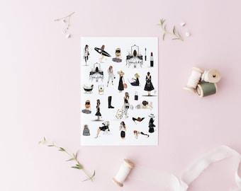 Black and White Sticker Sheet (Planner Stickers - Sticker Sheet)