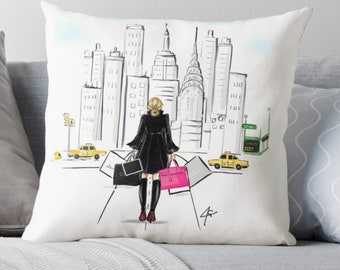 Fifth Ave  (Pillow) (Fashion Illustration art  Home Decor Gift Ideas  Gifts for Her Wedding Gifts Graduation Gifts Birthday Gifts)