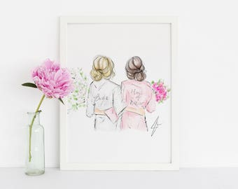 Bridal Gals (Bridesmaid Robes - Fashion Illustration - Will You Be My Bridesmaid - Bridal Party Card - Bridesmaid Card - Bridesmaid Gift)