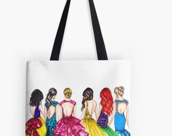 The Princess TOTE (Fashion Illustration art  Home Decor Gift Ideas  Gifts for Her Wedding Gifts Graduation Gifts Birthday Gifts)