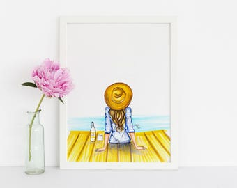 WINO (Fashion Illustration Print) (Fashion Illustration Art - Fashion Sketch prints - Home Decor - Wall Decor )