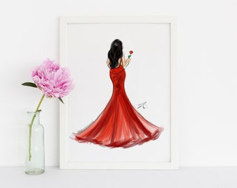 LIMITED EDITION * Lady in Red  (Fashion Illustration Print)
