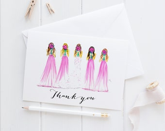 Thank You Bridal (Flat Cards)(Wedding Stationery - Champagne Blush Bridesmaid Dress - Wedding Supply - Bridal Shower)