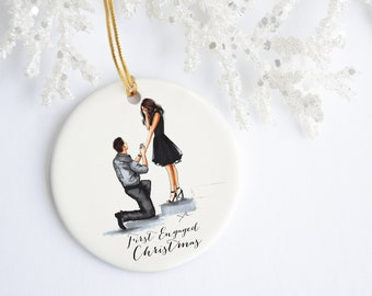 First Engaged Christmas Ornament (Available in Different Hair Colors and Skin Tone)