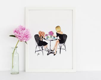 Mother & Daughter Brunch (Fashion Illustration Print) (Fashion Illustration Art - Fashion Sketch prints - Home Decor - Wall Decor )