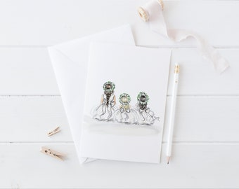 Flower Girl (Card)(Melsy Cards Sets - Personalized Stationery Wedding Cards - Birthday Cards Bridal Shower Cards- Flower Girl card)