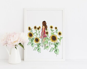 The Sunflower Field (Fashion Illustration Print) (Fashion Illustration Art - Fashion Sketch prints - Home Decor - Wall Decor )