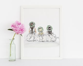 Flower Girls (Fashion Illustration Print) ( Art - Fashion Sketch prints - Home Decor - Wall Decor- Flower Girl )