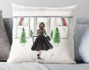 What's Goochi  (Pillow) (Fashion Illustration art  Home Decor Gift Ideas  Gifts for Her Wedding Gifts Graduation Gifts Birthday Gifts)
