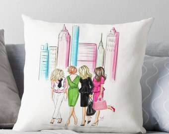 Girls in the City  (Pillow) (Fashion Illustration art  Home Decor Gift Ideas  Gifts for Her Wedding Gifts Graduation Gifts Birthday Gifts)