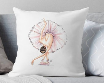 Ballerina (Pillow) (Fashion Illustration art  Home Decor Gift Ideas  Gifts for Her Wedding Gifts Graduation Gifts Birthday Gifts)