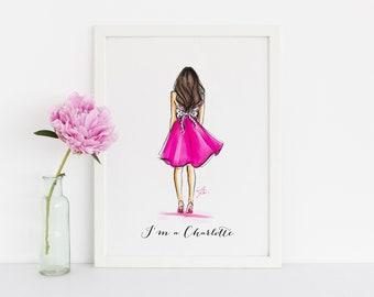 I'm a Charlotte (Fashion Illustration Print - Fashion Sketch prints - Home Decor - Wall Decor - Satc - Charlotte- sex and the city )