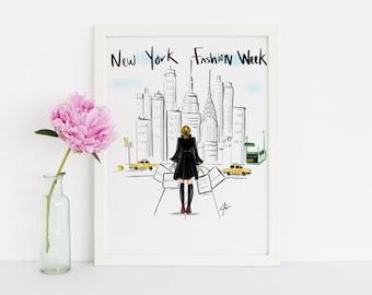 NYFW New York Fashion Week LIMITED EDITION (Fashion Illustration Art - Fashion Sketch prints - Home Decor - Wall Decor )