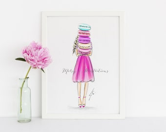 Macaron Munchies (Fashion Illustration Print)(Fashion Illustration Art - Fashion Sketch prints - Home Decor - Wall Decor )