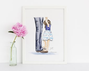 Daddy Daughter Dance (Print) (Fashion Illustration Print) (Fashion Illustration Art - Fashion Sketch prints - Home Decor - Wall Decor )