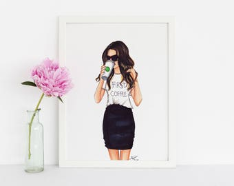 First Coffee - Fashion Print - Fashion Illustration - Illustration - Fashion Art - Art - Fashion - Coffee Mug