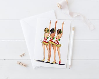 Holiday Dancers (Card)(Melsy Cards Sets - Personalized Stationery Wedding Cards  Birthday Cards Bridal Shower Cards)