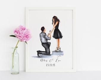 Bended Knee (customization available) (Fashion Illustration Print) - Wedding - Bridal Print - Bridal Illustration - Engagement Print
