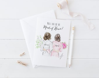 Custom Will you be my Maid Of Honor?  (Bridesmaid Cards- Will you be my moh -  Personalized moh Gift - Bridesmaid Gift - maid of honor card)
