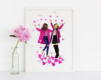I love you this much (Fashion Illustration Print) (Fashion Illustration Art - Fashion Sketch prints - Home Decor - Wall Decor )