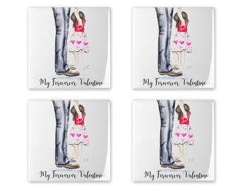 My Forever Valentine Coaster Set (Available in different hair colors/skin tones)