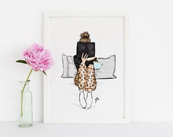 How to beat the Sunday Scaries (Fashion Illustration Print)(Fashion Illustration Art - Fashion Sketch prints - Home Decor - Wall Decor )