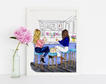 Brunch Girls (Fashion Illustration Print) (Fashion Illustration Art - Fashion Sketch prints - Home Decor - Wall Decor )