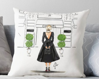 The Boutique  (Pillow) (Fashion Illustration art  Home Decor Gift Ideas  Gifts for Her Wedding Gifts Graduation Gifts Birthday Gifts)