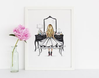 Black Vanity NEW (Fashion Illustration Print)(Fashion Illustration Art - Fashion Sketch prints - Home Decor - Wall Decor )