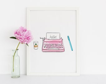 The Typewriter (Fashion Illustration — Melsy's Illustrations — Work — Coffee — Wall Decor)