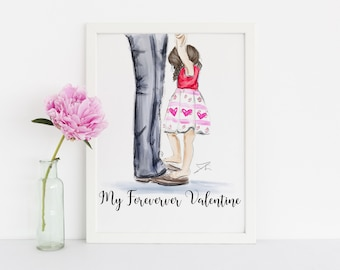 Forever Valentine ** LIMITED EDITION**  (Fashion Illustration Print) (Fashion Illustration Art - Fashion Sketch prints - Wall Decor )