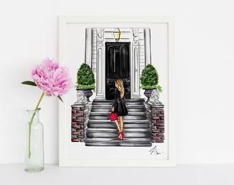 The Black Door (Fashion Illustration Print) (Fashion Illustration Art - Fashion Sketch prints - Home Decor - Wall Decor )