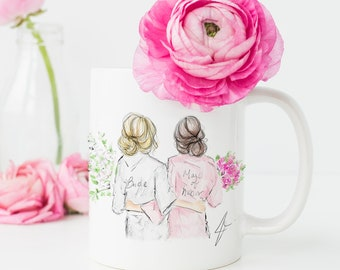 Custom Bride and Bridesmaid (MUG) (Bride) (MOH)(Bridal shower gifts) (Bridesmaids gifts) (Bridal Party)