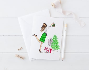 Mistletoe (Card)(Melsy Cards Sets - Personalized Stationery Wedding Cards  Birthday Cards Bridal Shower Cards)