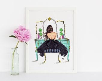 The Turquoise Vanity (Fashion Illustration Print) (Fashion Illustration Art -Home Decor - Wall Decor )By Melsy's Illustration's