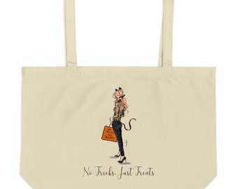 No Tricks Just Treats Tote Red (By Melsy's Illustrations)