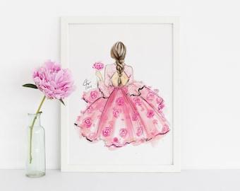 ROSIE (Fashion Illustration Print - Fashion Illustration Art - Fashion Sketch prints - Home Decor - Wall Decor )