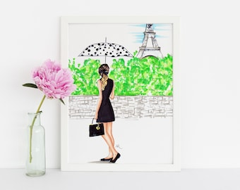 The Parisian (Fashion Illustration Print) (Fashion Sketch prints - Home Decor - Wall Decor )By Melsy's Illustrations