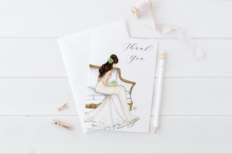 Bridal Shower Thank you Cards Wedding Stationery - Champagne Blush Bridesmaid Dress - Wedding Supply - Bridal Shower