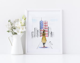 20 Years  (Print)(Fashion Illustration - Home Decor - Wall Decor - September 11th) By Melsy's Illustrations