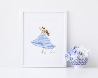 The Little Blue Dress  (Print, Fashion Illustrations)  By Melsy's Illustrations