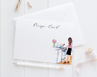 Recipe Card/ Cookin' Personalized Card Set (Flat Cards)