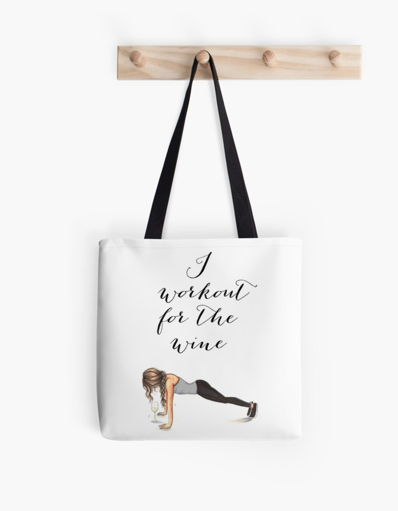 Workout For The Wine Tote Fashion Illustration Art Home Decor Gift