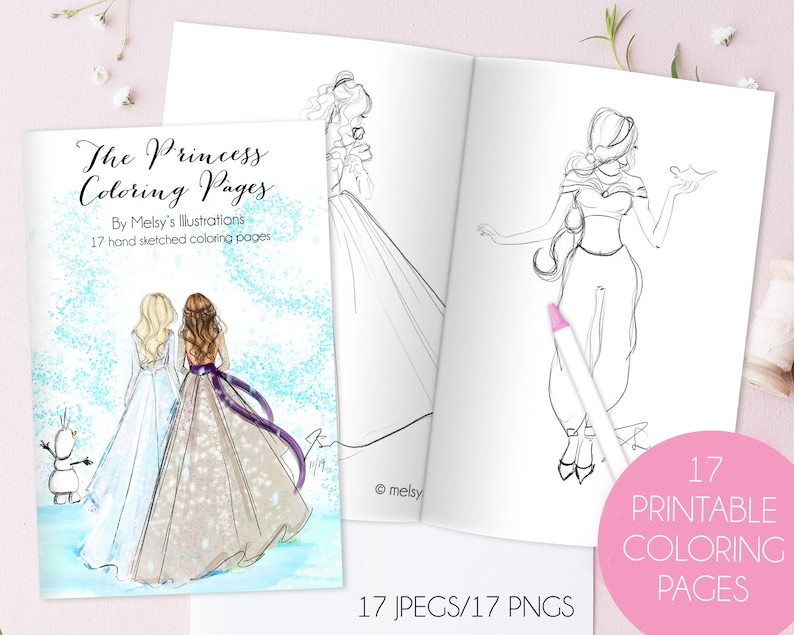 The Princess Coloring Pages  Instant Download/PRINTABLES  By image 0
