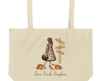 Farm Fresh Pumpkin Tote Red (By Melsy's Illustrations)
