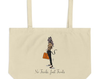 No Tricks Just Treats Tote Brunette (By Melsy's Illustrations)