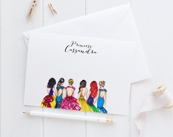 Personalized Princess Stationery  (Flat Cards)(Melsy Cards Sets - Personalized Stationery Wedding Cards  Birthday Cards Bridal Shower Cards)