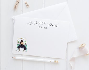 Personalized Vanity Stationery  (Flat Cards)(Melsy Cards Sets - Personalized Stationery Wedding Cards  Birthday Cards Bridal Shower Cards)
